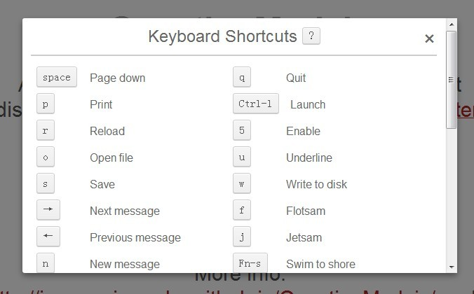 creating a shortcut keys modal window for your app using