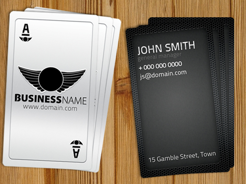 200 best business card mock ups for free download 2018 edition playing card business card free template accmission Choice Image
