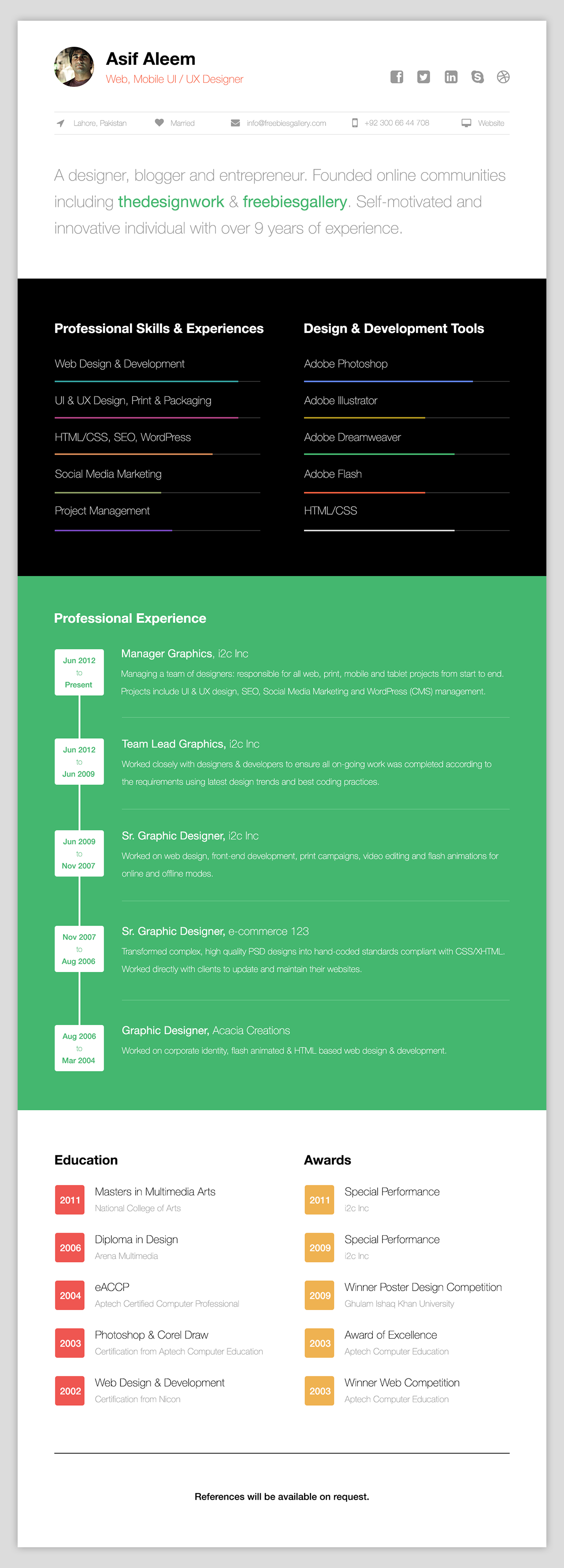 37  Free One Page Web Resume Template