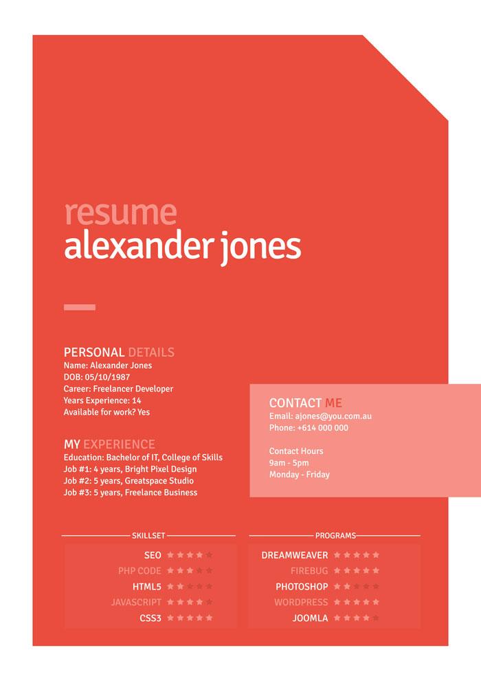 free orange flat style resume psd