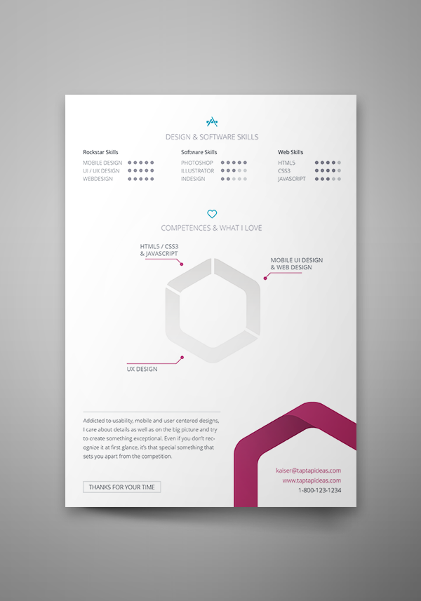 free vita resume indesign template