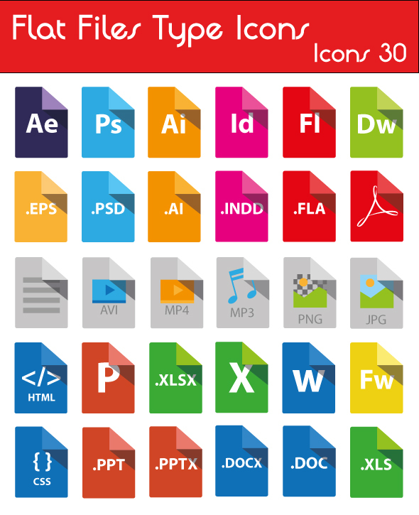 Flat Pack Extensions >> 40+ File/Document Type Icon Sets For Free Download (Updated For 2018) - 365 Web Resources