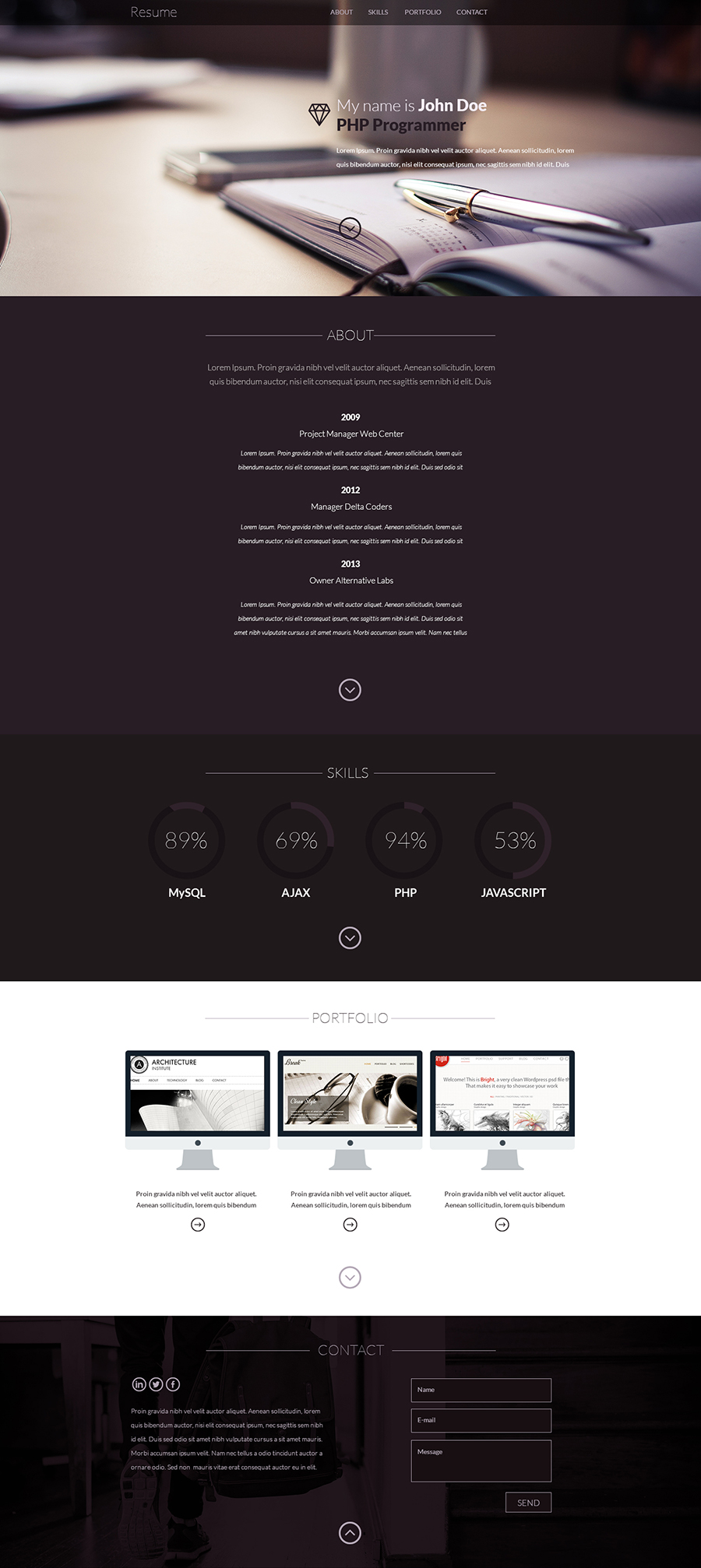 Resume – One page