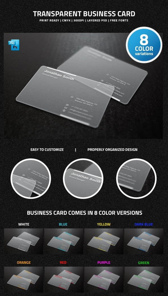 Transparent Business Card Template Free Download Gallery - Card ...