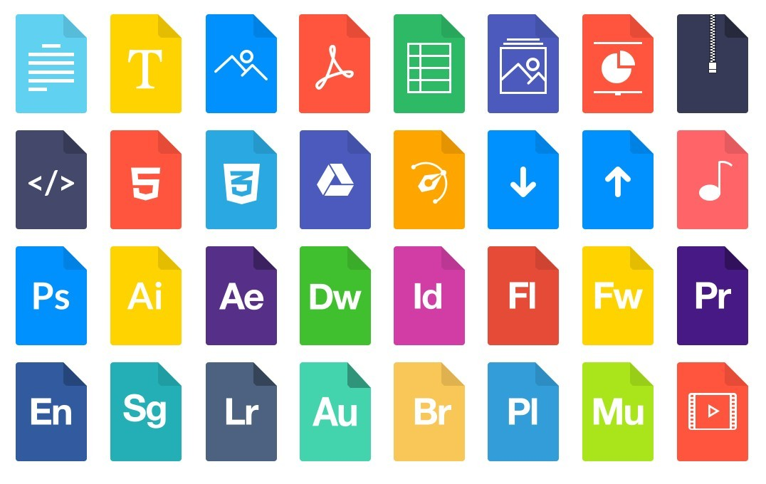 of outline file icons, with different colours for different file types ...: 365webresources.com/10-flat-filedocument-type-icon-sets-free-download