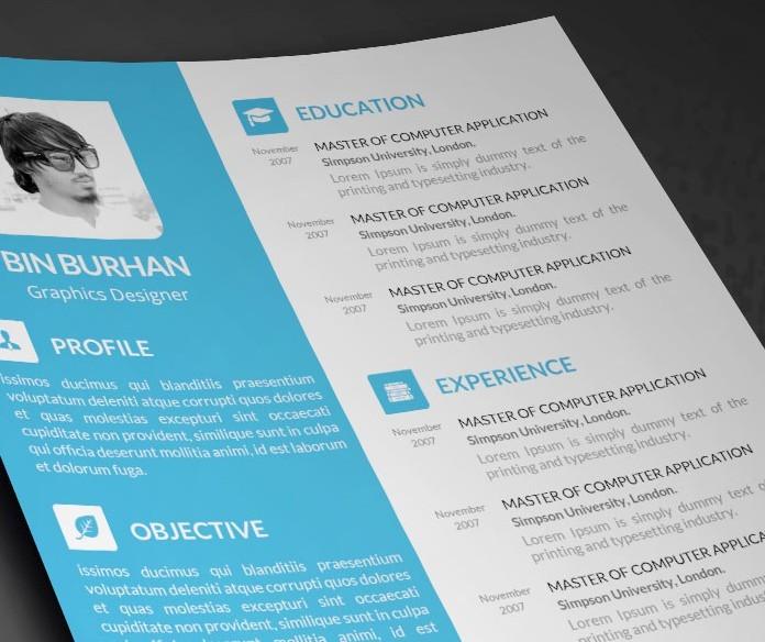 Freebie resume template with CV