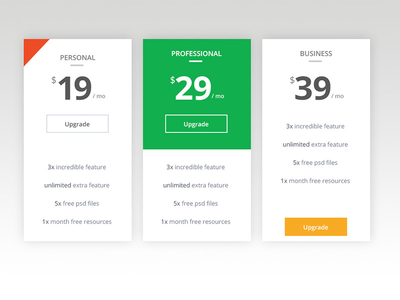 Pricing tables for Table design template css