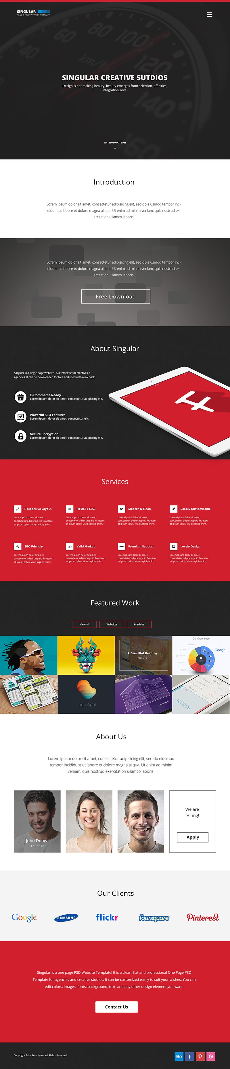 one page website template free - 15 best one page website psd templates for web designers