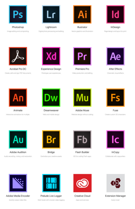 adobe cc suite icons vector clipart library