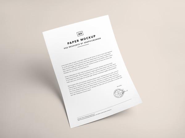 A4 Paper PSD MockUp V1