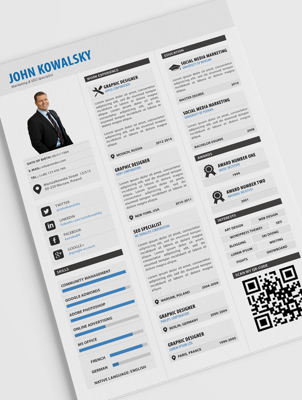 Creative Professional Resume Template CV Template Cover