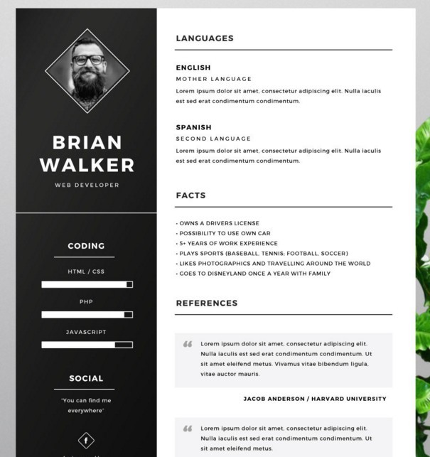 130 new fashion resume cv templates for free download 365 web resources. Black Bedroom Furniture Sets. Home Design Ideas