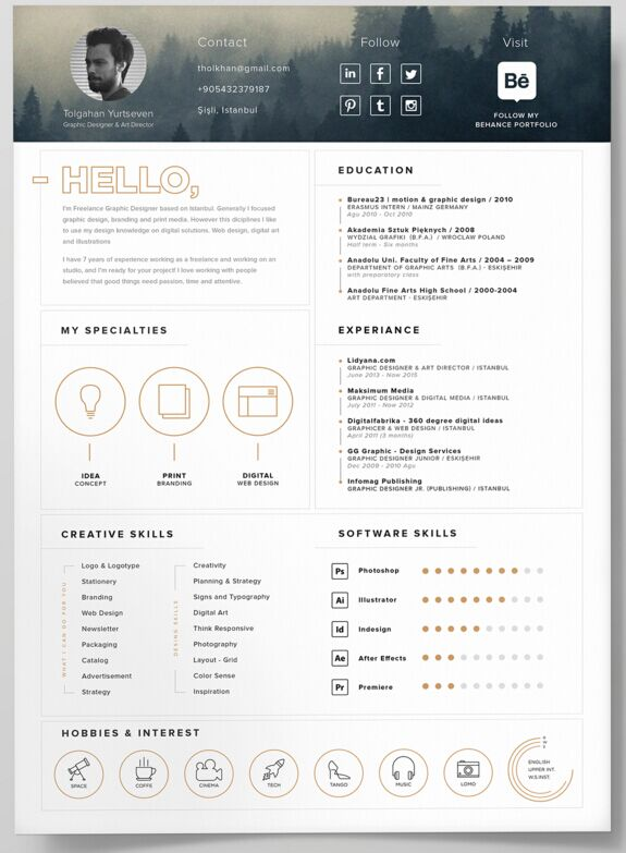 New Fashion Resume CV Templates For Free Download Web - One page resume template free