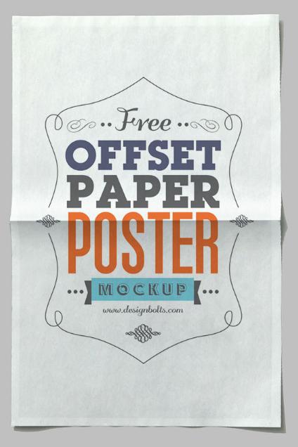 Free Offset Paper Horizontal Poster Mock-up