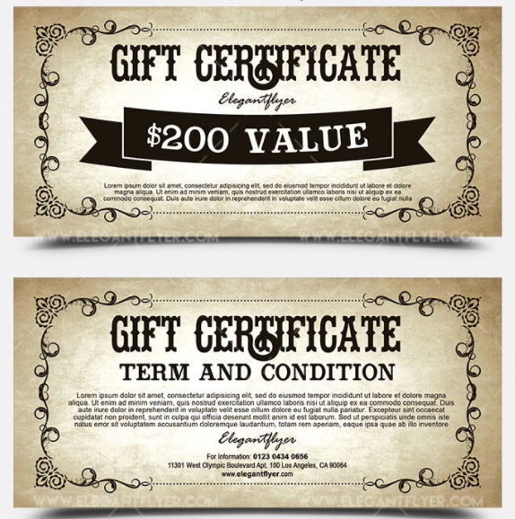 10 best free gift voucher gift certificate templates for vintage free gift certificate psd template yadclub Image collections