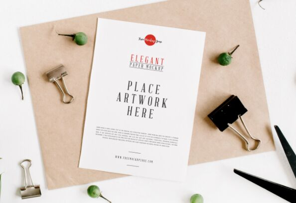 Free Elegant Paper Mockup PSD