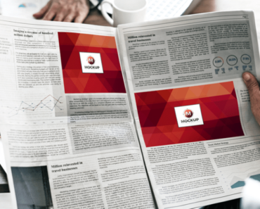 Man Reading Multiple Ads Newspaper Mockup