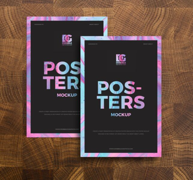 Free Posters on Wooden Background Mockup