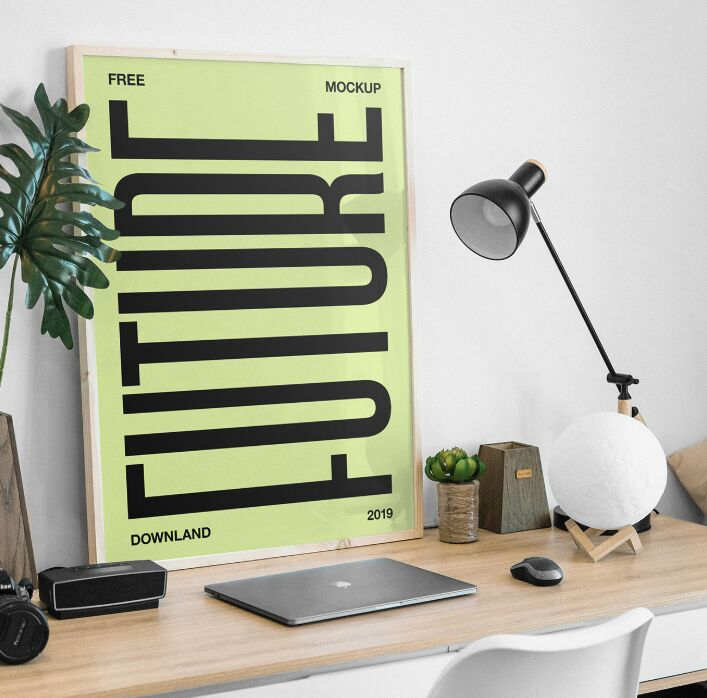 Picture Frame on Desk Mockup